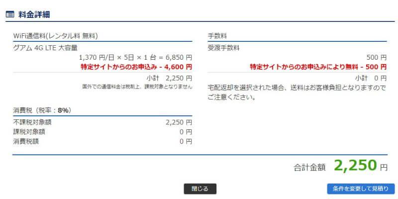 トラベルコちゃんより予約時の料金詳細