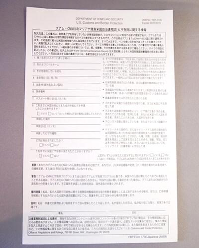 入国審査用紙表