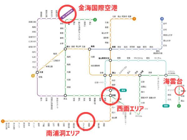 釜山地下鉄路線図