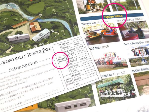タロフォフォの滝公園 パンフレットとチケット
