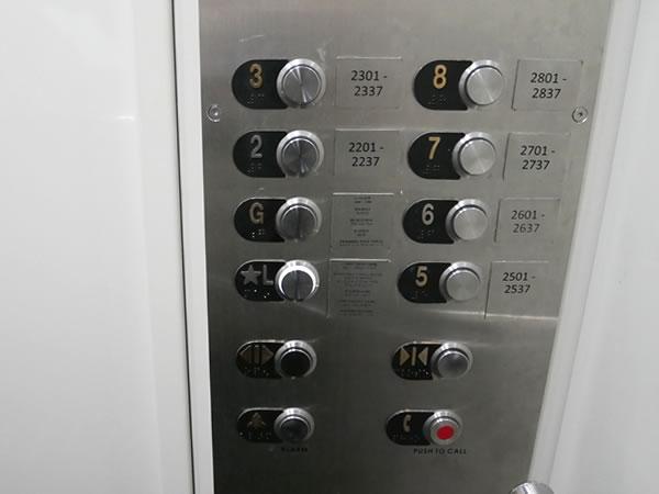 グアムプラザホテルのエレベーター